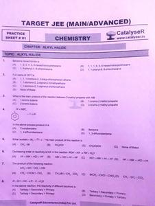 CATALYSER TARGET JEE (MAIN/ADVANCED) CHEMISTRY PRACTICE SHEET PACK OF 6 PAPERS