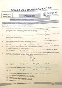 CATALYSER TARGET JEE (MAIN/ADVANCED) PHYSICS PRACTICE SHEET PACK OF 3 PAPERS
