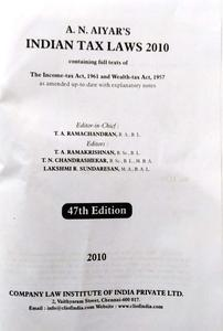 A.N. AIYAR'S INDIAN TAX LAWS 2010